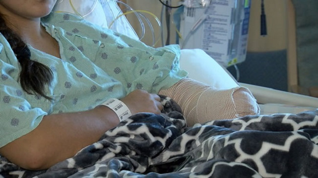 Losing arm hasn't slowed down 14-year-old girl