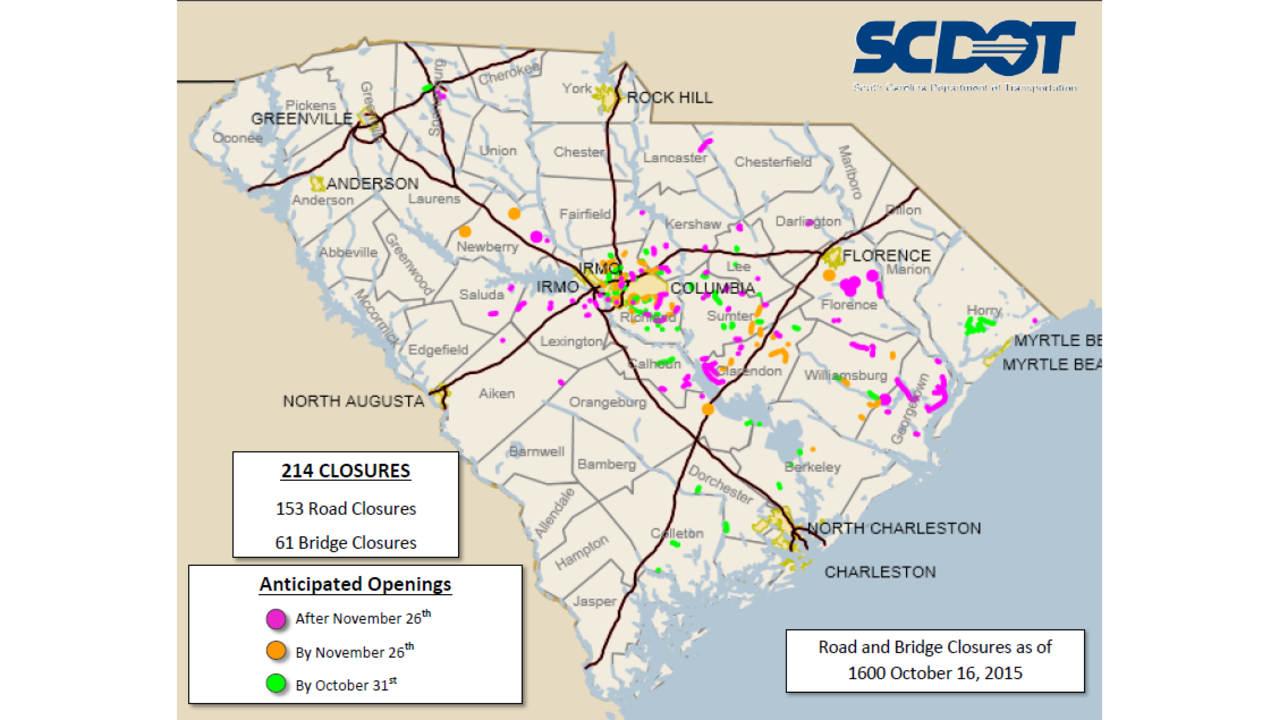 SCDOT: Complete list of SC road, bridge closings on sc airport map, sc railway map, sc island map, sc town map, sc agriculture map, downtown charleston sc attractions map, historic downtown charleston map, sc water map, sc route map, sc green map, sc state map, sc viper map, sc hotel map, sc interstate map, sc counties highway map, south ga cities map, sc flood maps, sc mining map, sc house map, south carolina map,
