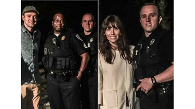 Summerville police take pictures with Jessica Biel, Justin Timberlake