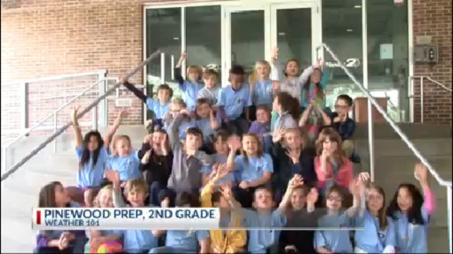 Pinewood Prep 2nd graders visit Rob Fowler for a Weather 101Tour of News2