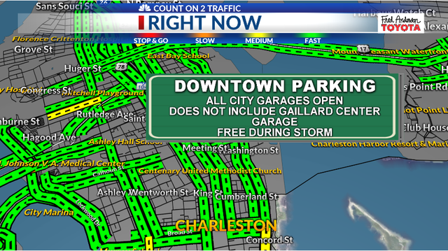 City of Charleston parking garages open to citizens to park for free during storm