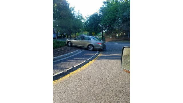 Driver crashes through roundabout in Mt. Pleasant