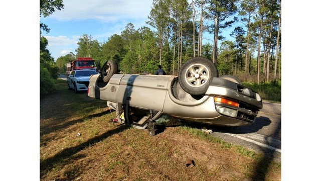 Crews on scene of flipped car in Awendaw